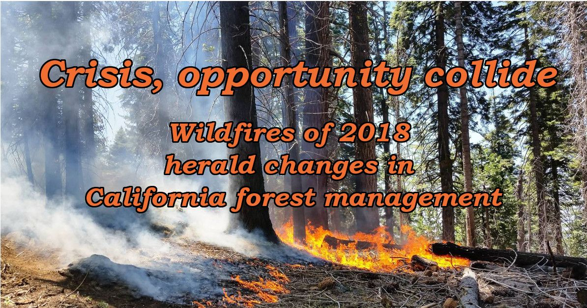Crisis and opportunity collide. Wildfires of 2018 herald changes in California forest management